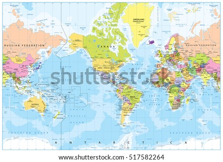 world map   america in center