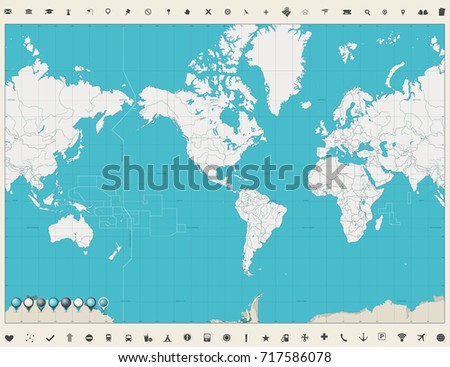 World Map Americas Centered Map Vintage color and map markers. No text. Vector illustration.