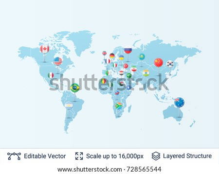 world map and country pins