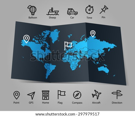 world map and different