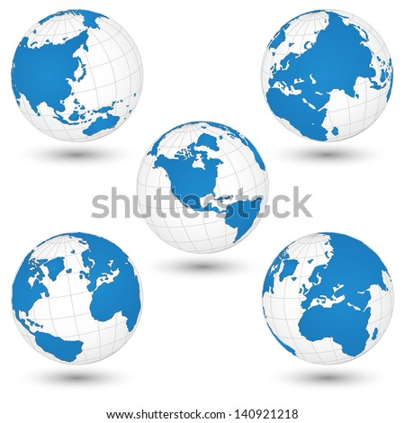 World Map and Globe Detail Vector Illustration EPS 10