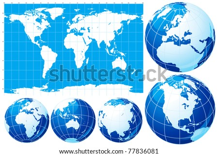 World map and globe. Vector set of  World map  and five kinds of globe