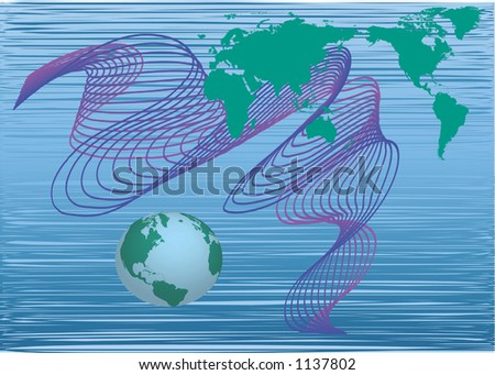 world map and globe with dynamic shapes