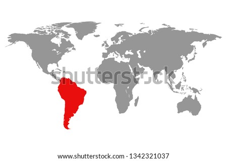 World map and highlighted South America red color.