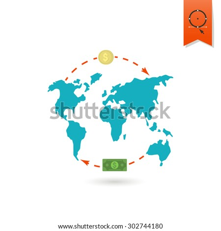 world map and money business