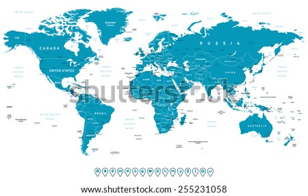 World Map and navigation icons - illustration. Highly detailed world map: countries, cities, water objects