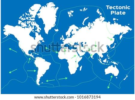world map and tectonic plates
