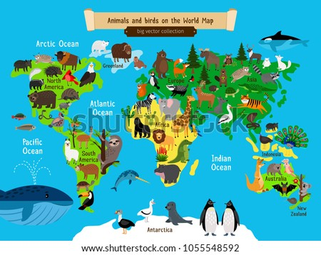 vector illustration animals world map animals europe and asia south and north america australia and africa