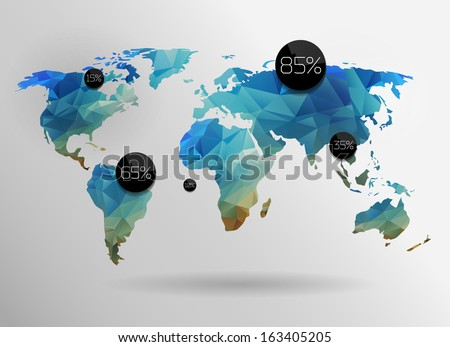 World map background in polygonal style. Vector background