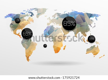 Digital technology earth world map on blue background with dots world map background in polygonal style vector background gumiabroncs Image collections