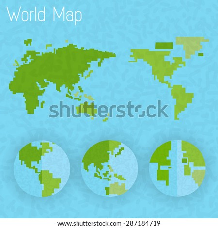 world map 8 bit air and compass