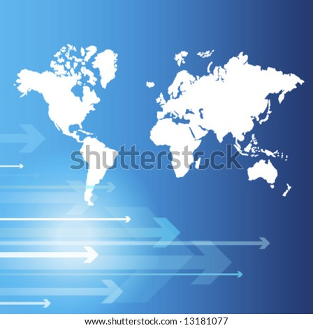 World map - Blue abstract background - trendy business website  template with copy space