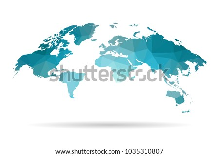 World map blue in polygonal style on white background. isolated vector illustration eps 10.