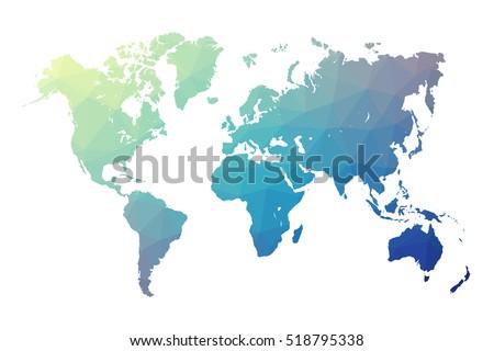 world map blue in polygonal