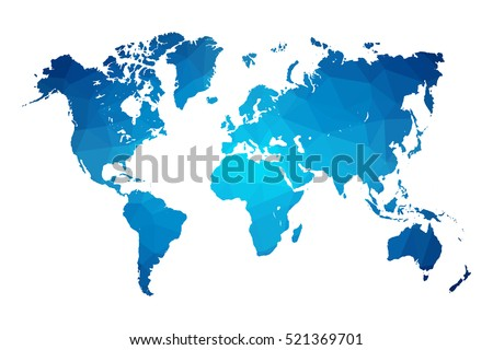 world map blue vector illustration in polygonal style on white background vector illustration eps 10