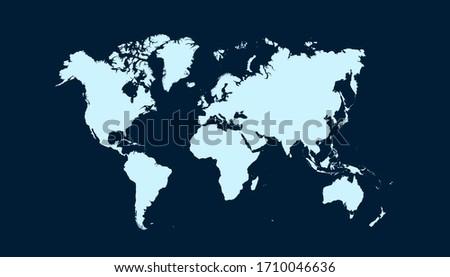 World map blue vector modern