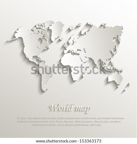 world map card paper 3d natural
