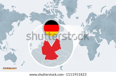 Free germany map vector world map centered on america with magnified germany blue flag and map of germany gumiabroncs Gallery