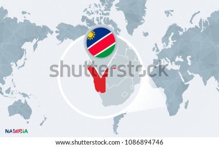 world map centered on america