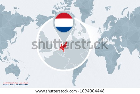 Netherlands map and flags download free vector art stock graphics world map centered on america with magnified netherlands blue flag and map of netherlands gumiabroncs Gallery