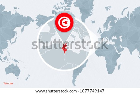 World map centered on America with magnified Tunisia. Blue flag and map of Tunisia. Abstract vector illustration.