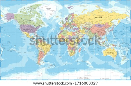 World Map Classic Color Political - Vector Detailed Illustration