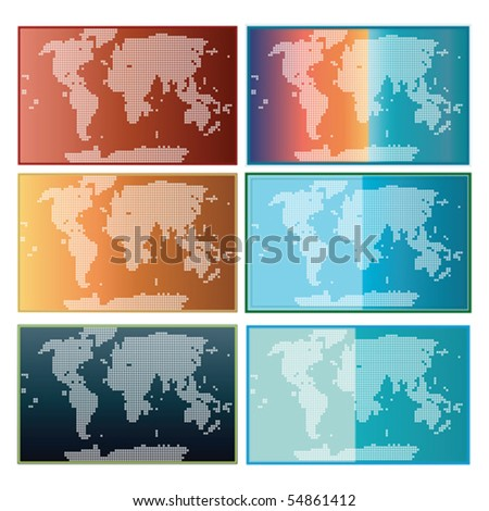 World Map Collection Vector isolated on white