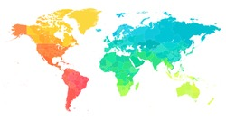 World Map Color Bright Political - Vector Detailed Illustration