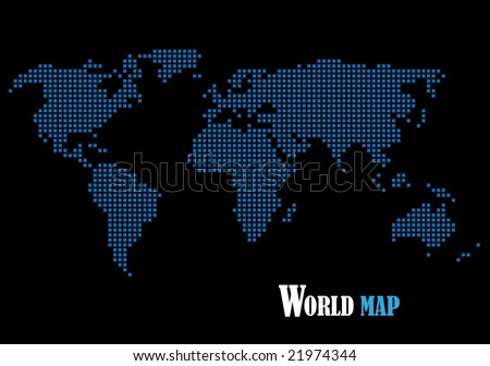 Free vector pixel world map download free vector art stock world map composed of blue squares gumiabroncs Image collections