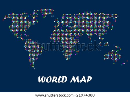 Vector de mapa de mundo pixel descargue grficos y vectores gratis world map composed of colorful squares gumiabroncs Image collections