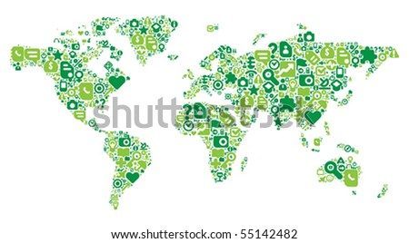 World Map concept. Made of 100 vector icons set in green colors.
