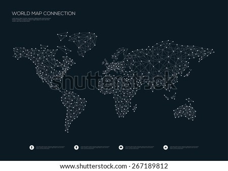 world map connection vector