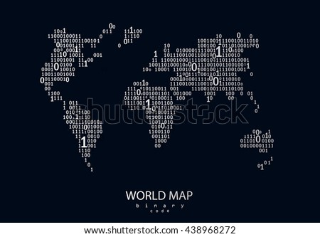 World map consist of binary code. Vector background for your presentation, poster, website.