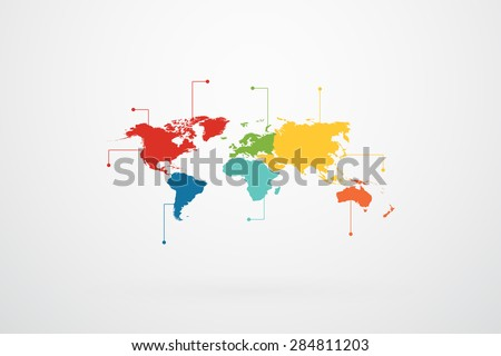 world map continents infographic vector
