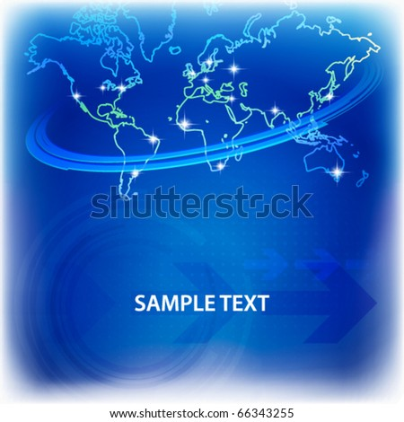 World map contour on a dark blue background. Vector
