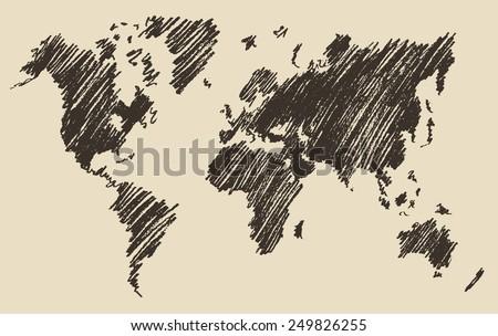 world map contour vector illustration hand drawn sketch