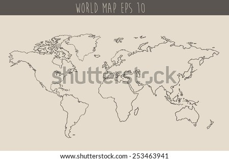 Sketch world map vectors download free vector art stock graphics world map contour vector illustration hand drawn sketch gumiabroncs Images