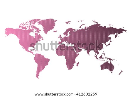 World map countries colorful with dots. Vector illustration. #412602259
