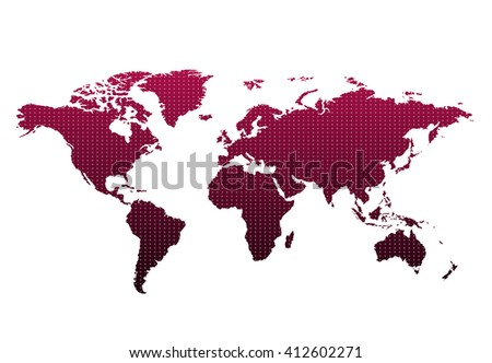 World map countries colorful with dots. Vector illustration. #412602271