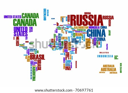 World map: countries in color wordcloud