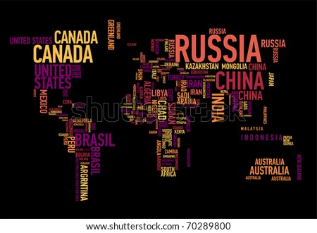 World map: countries in wordcloud