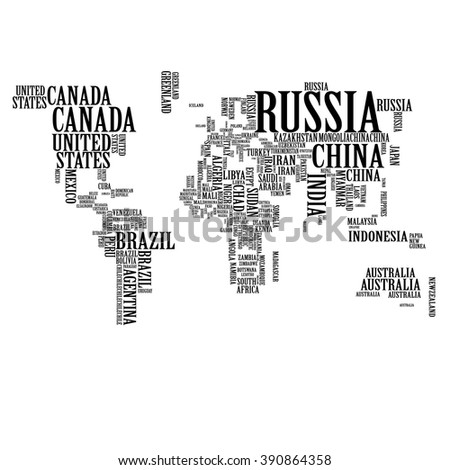 world map countries name text