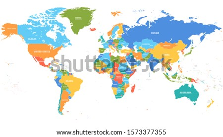 World map countries vector illustration