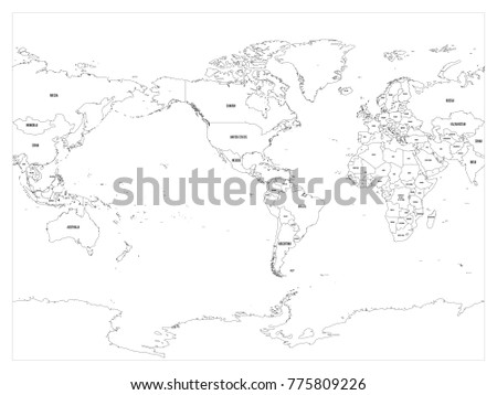 Amrica central mapa infografa descargue grficos y vectores gratis world map country border outline on white background with country name labels america centered gumiabroncs Images