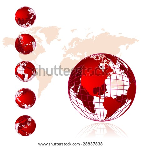 World Map 3d Globe. stock vector : World map, 3D globe series