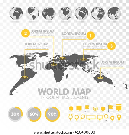 world map 3d with set of info