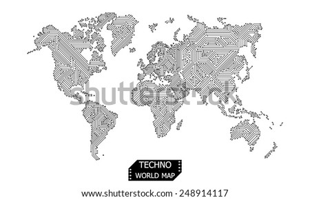 world map design circuit board