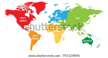 World continents map vector download free vector art stock world map divided into six continents each continent in different color simple flat vector gumiabroncs