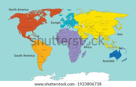 World map divided into six continents in different color. World map 6 continents isolated. Vector stock