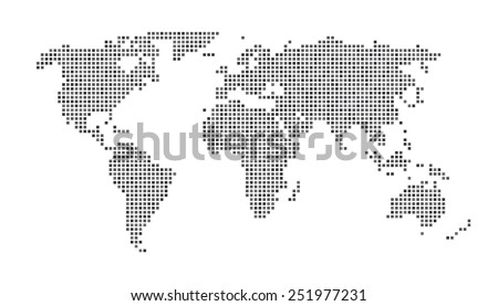 world map   dots matrix gray